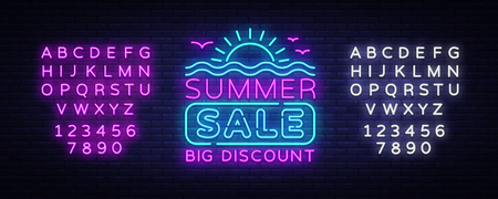 Summer Sales Neon Banner Vector. Bright Neon Advertising of Summer Discounts, Design Template, Light Banner, Bright Advertising Brochure. Vector illustration. Editing text neon sign