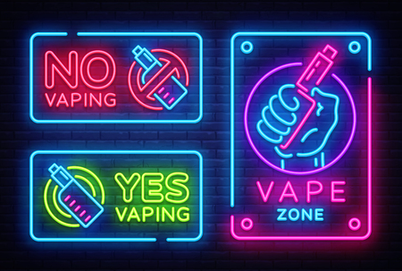 Vaping neon signs collection vector template, light banner, bright night illustration, symbol, places for vape, no vaping, vaping ban, electronic cigarette neon. Vector illustration