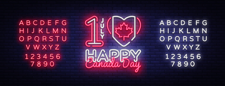 Canada Day Neon Vector Design Template. Happy Canada Day Illustration festive, colorful flyer, banner light, modern design. Vector illustration. Editing text neon sign