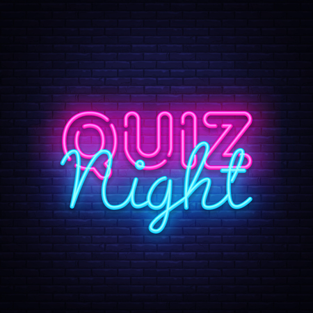 Quiz notte annuncio poster modello disegno vettoriale. Insegna al neon di quiz night, banner luminoso. Pub quiz tenuto in pub o bar, night club. Pub gioco di squadra. Domande gioco luminoso segno di luce retrò. Vettore