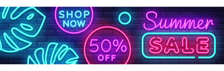 Summer Sale Neon Horizontal Banner Vector. Advertising banner in modern trend design, neon style, bright night advertising Summer discount, design template. Vector illustration