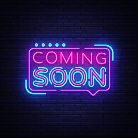 Coming Soon Neon Sign Vector. Coming Soon Badge in neon style, design element, light banner, announcement neon signboard, night neon advensing. Vector Illustration Vettoriali
