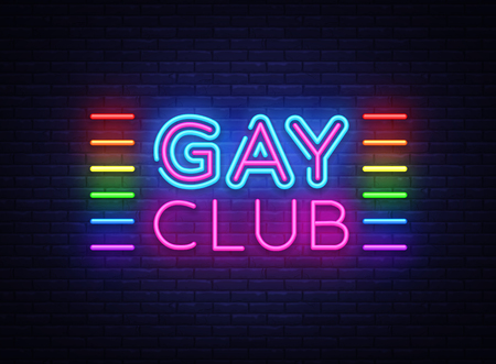 Gay club neon sign vector. Gay Club design template neon sign, light banner, neon signboard, nightly bright advertising, light inscription. Vector illustration Archivio Fotografico - 103260417