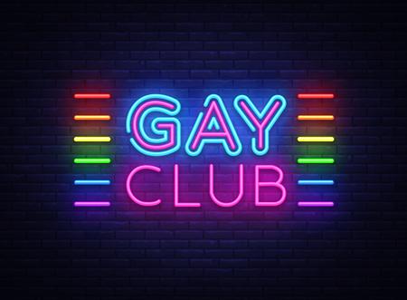 Gay club neon teken vector. Gay Club ontwerpsjabloon neon teken, lichte banner, neon uithangbord, nachtelijke heldere reclame, lichte inscriptie. Vector illustratie Vector Illustratie