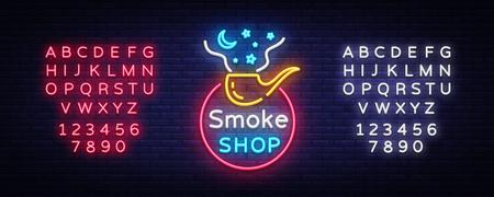 Smoke Store Logo Neon Vector. Cigarette shop neon sign, vector design template vector illustration on tobacco theme, bright night cigarette advertisement. Vector. Editing text neon sign Stock Vector - 103260425