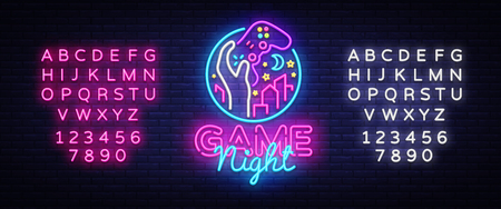Game Night neon sign logo design template. Game night logo in neon style, gamepad in hand, video game concept, modern trend design, light banner, bright advertisement. Vector. Editing text neon sign Ilustrace