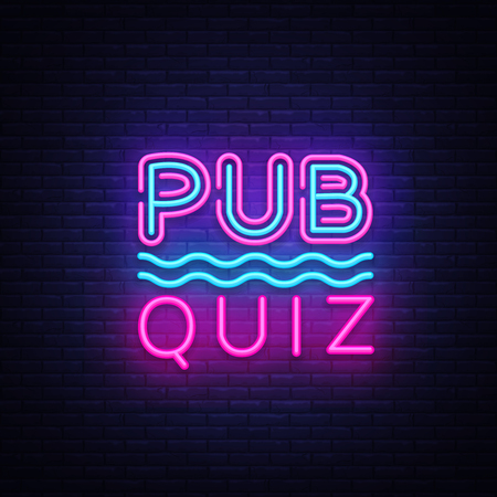 Pub Quiz night announcement poster vector design template. Quiz night neon signboard, light banner. Pub quiz held in pub or bar, night club. Pub team game. Questions game bright retro sign. Vector