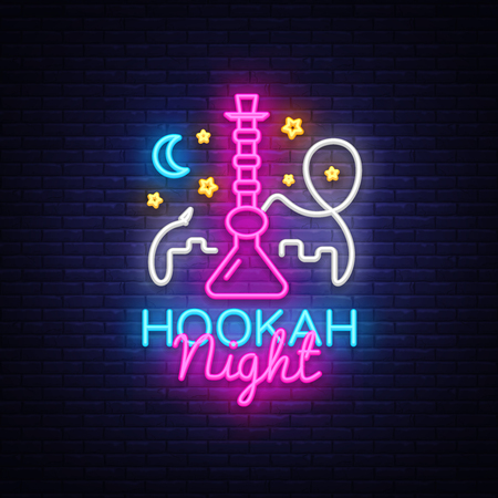 Hookah neon sign vector. Night Hookah Design Template, Light Banner, Night Bright Advertising, Bright Signboard, Design Element Hookah Emblem, Nightlife. Vector illustration Illustration