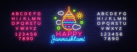 Happy Janmashtami greeting card neon vector design template. Neon sign, modern trend design for Indian festival. Dahi handi is Janmashtami celebrating. Template flyer. Vector. Editing text neon sign Illustration