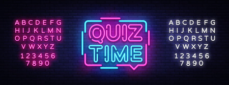 Quiz Time announcement poster neon signboard vector. Pub Quiz vintage styled neon glowing letters shining, Light Banner, Questions team game.Vector illustration. Editing text neon sign Ilustração