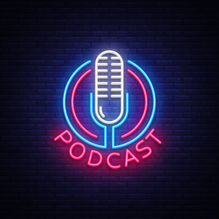 Podcast Neon sign vector design template. Podcast neon logo, light banner design element colorful modern design trend, night bright advertising, bright sign. Vector illustration Çizim
