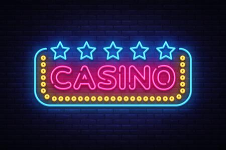 Casino Neon sign vector design template. Casino neon logo, light banner design element colorful modern design trend, night bright advertising, bright sign. Vector illustration