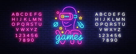 VR games neon sign vector. Virtual Reality Logotype Games, Emblem in Modern Trend Design, Vector Template, Light Banner, Night Vivid Video Game Promotion, Design Element. Vector. Editing neon sign
