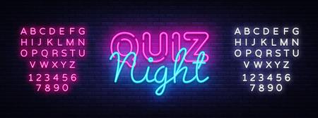 Quiz nacht aankondiging poster vector ontwerpsjabloon. Quiz nacht neon uithangbord, lichte banner. Pubquiz gehouden in pub of bar, nachtclub. Pub teamspel. Vragen spel. Vector. Tekst neonreclame bewerken