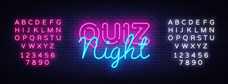 Quiz night announcement poster vector design template. Quiz night neon signboard, light banner. Pub quiz held in pub or bar, night club. Pub team game. Questions game. Vector. Editing text neon sign Imagens - 103258427