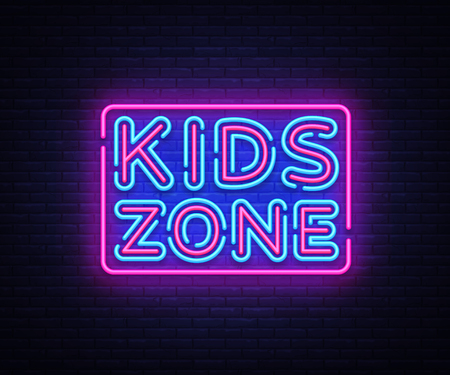 Kids Zone neon sign vector. Kids Zone design template neon sign, light banner, neon signboard, nightly bright advertising, light inscription. Vector illustration Illustration