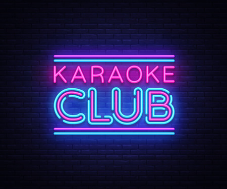 Karaoke Club neon sign vector. Karaoke design template neon sign, light banner, neon signboard, nightly bright advertising, light inscription. Vector illustration