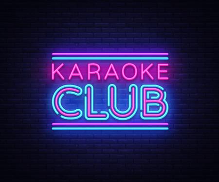 Karaoke Club neon sign vector. Karaoke design template neon sign, light banner, neon signboard, nightly bright advertising, light inscription. Vector illustration