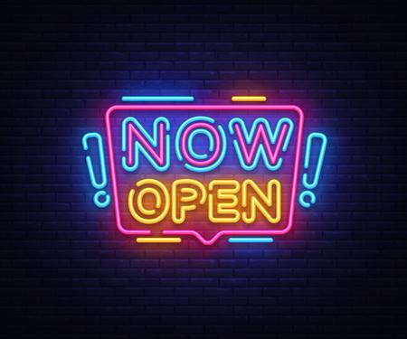 Ora apri il vettore di insegne al neon. Now Open Design template neon sign, light banner, neon signboard, nightly bright advertising, light inscription. Illustrazione vettoriale Vettoriali