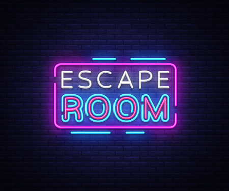 Escape Room neon signs vector. Escape Room Design template neon sign, light banner, neon signboard, nightly bright advertising, light inscription. Vector illustration Illustration