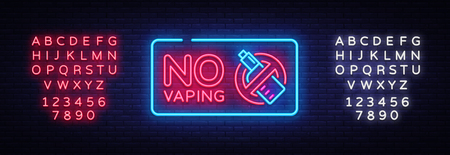 Vaping neon signs collection vector template, light banner, bright night illustration, symbol, places for vape, no vaping, vaping ban, electronic cigarette neon. Vector. Editing text neon sign