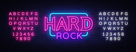 Hard Rock Neon Sign Vector Illustration. Design template neon signboard on Rock Music, Light banner, Bright Night Advertising. Vector. Editing text neon sign