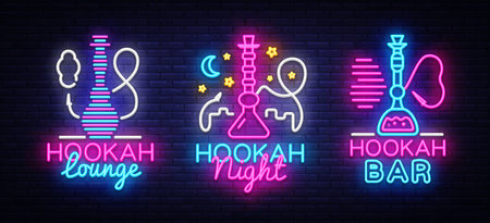 Hookah neon signs collection vector. Night Hookah Design Template, Light Banner, Night Bright Advertising, Bright Signboard, Design Element Hookah Emblem, Nightlife. Vector illustration Illustration