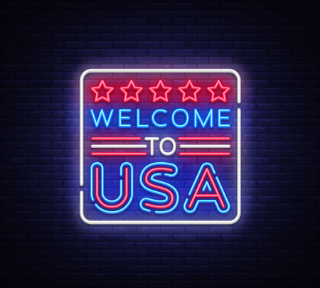 Welcome to USA neon vector sign. Welcome to USA symbol banner light, bright night Illustration. Vector illustration