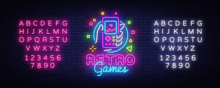 Retro Games Vector Logo. Retro geek gaming gamepad in hand neon sign, modern trend design, vivid vector illustration, promotional character games. Vector Illustration. Editing text neon sign