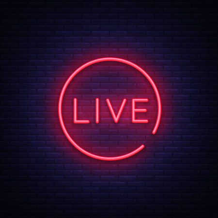Live neon sign vector. Live Stream design template neon sign, light banner, neon signboard, nightly bright advertising, light inscription. Vector illustration