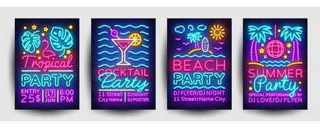 Summer party posters collection neon vector. Summer party design template, bright neon brochure, modern trend design, light banner, typography invitation to the party, advertising postcard. Vector