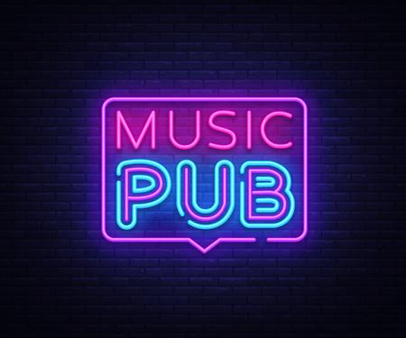 Music Pub neon sign vector. Live Music design template neon sign, light banner, neon signboard, nightly bright advertising, light inscription. Vector illustration Stock Illustratie