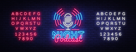 Podcast neon sign vector. Night Podcast Design template neon sign, light banner, neon signboard, nightly bright advertising, light inscription. Vector illustration. Editing text neon sign