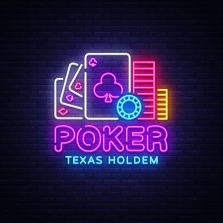 Poker neon sign design vector template. Casino Poker Texas Holdem Night Logo, Bright Neon Signboard, Design Element for Casino, Gambling Neon, Bright Night Advertising. Vector Illustration