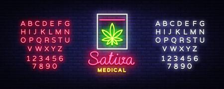 Marijuana Medical Logo Neon Vector. Sativa Medical, Marijuana smoking, storage and cultivation of cannabino medical equipment, light banner, design template. Vector. Editing text neon sign.
