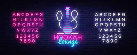 Hookah neon sign vector. Hookah Lounge logo in neon style design pattern bright advertising Hookah night, light banner design element. Vector illustration. Editing text neon sign.
