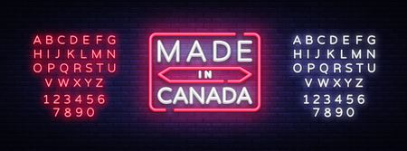 Made in Canada neon vector sign. Made in Canada symbol banner light, bright night Illustration. Vector illustration. Editing text neon sign. Illustration