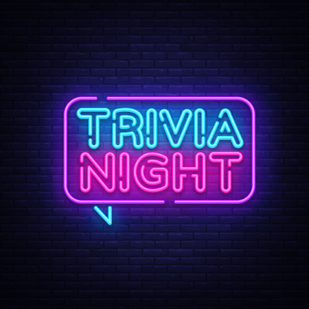 Trivia night announcement neon signboard vector. Light Banner, Design element, Night Neon Advensing. Vector illustration. Vectores