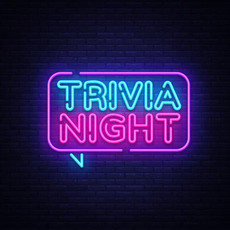 Trivia night annuncio neon vettore dell'insegna. Banner luminoso, elemento di design, Night Neon Advensing. Illustrazione vettoriale.