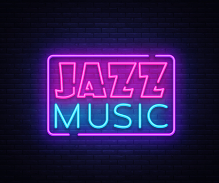Jazz Music neon sign vector. Jazz Music design template neon sign, light banner, neon signboard, nightly bright advertising. Vector illustration. Ilustrace