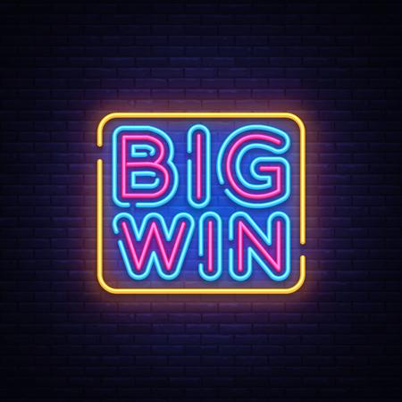 Big Win neon sign vector. Big Win Design template neon sign, light banner, neon signboard, nightly bright advertising, light inscription. Vector illustration. Illustration
