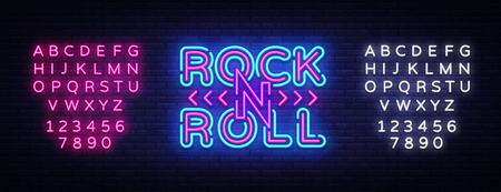 Rock and Roll logo in neon style. Rock Music neon night signboard, design template vector illustration for Rock Festival, Concert, Live music, Light banner. Vector. Editing text neon sign.