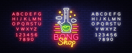 Bong Shop neon sign. Logo design template for shop advertising or signage. Tobacco Smoking Apparatus. Vector illustration. Editing text neon sign.