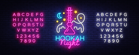 Hookah neon sign vector. Night Hookah Design Template, Light Banner, Night Bright Advertising, Bright Signboard, Design Element Hookah Emblem, Nightlife. Vector. Editing text neon sign.