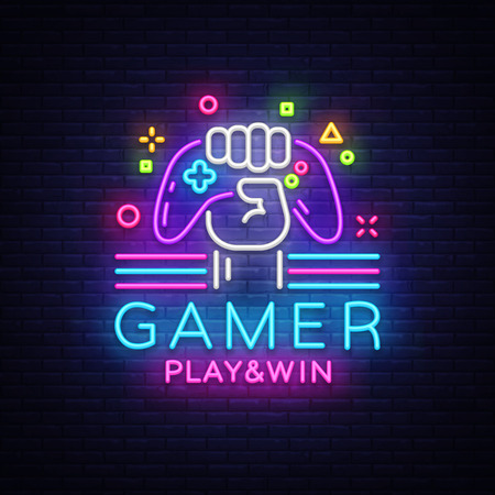 Gamer Play Win logo neon sign Vector logo design template. Game night logo in neon style, gamepad in hand, modern trend design, light banner, bright nightlife advertisement. Vector illustration