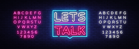 Lets talk neon signs vector. Lets talk text Design template neon sign, light banner, neon signboard, nightly bright advertising, light inscription. Vector illustration. Editing text neon sign Illustration