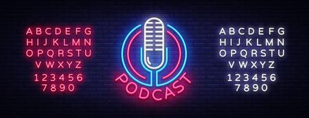 Podcast Neon sign vector design template. Podcast neon logo, light banner design element colorful modern design trend, night bright advertising, bright sign. Vector. Editing text neon sign Illustration