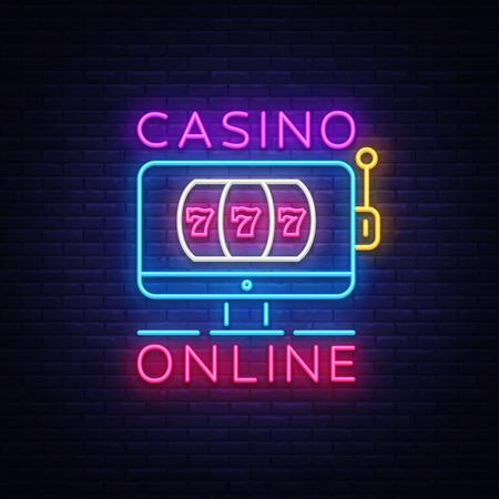 Casino Online neon sign vector. Casino Design template neon sign, light banner, neon signboard, modern trend design, nightly bright advertising, light inscription. Vector illustration Illustration