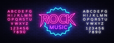 Rock Music Vector Neon. Rock Music Neon Sign, Bright Night Sign, Light Banner, Neon Night Live Music Promotion, Nightlife Vector. Editing text neon sign Illustration