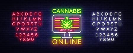 Marijuana Medical Logo Neon Vector. Cannabis Online, Marijuana smoking, storing and growing cannabino medical equipment, light banner, design template. Vector illustration. Editing text neon sign